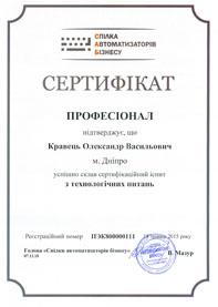 """Сертифікат """"Професіонал з технологічних питань"""""""