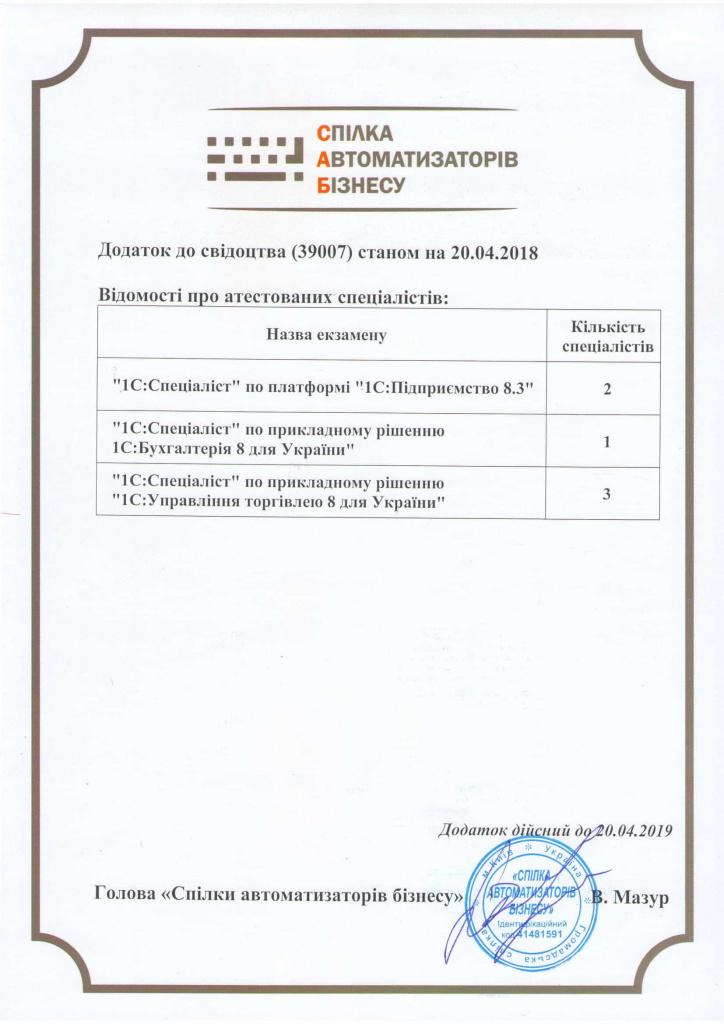 """Сертифікат """"Спілка автоматизаторів бізнесу"""" додаток"""